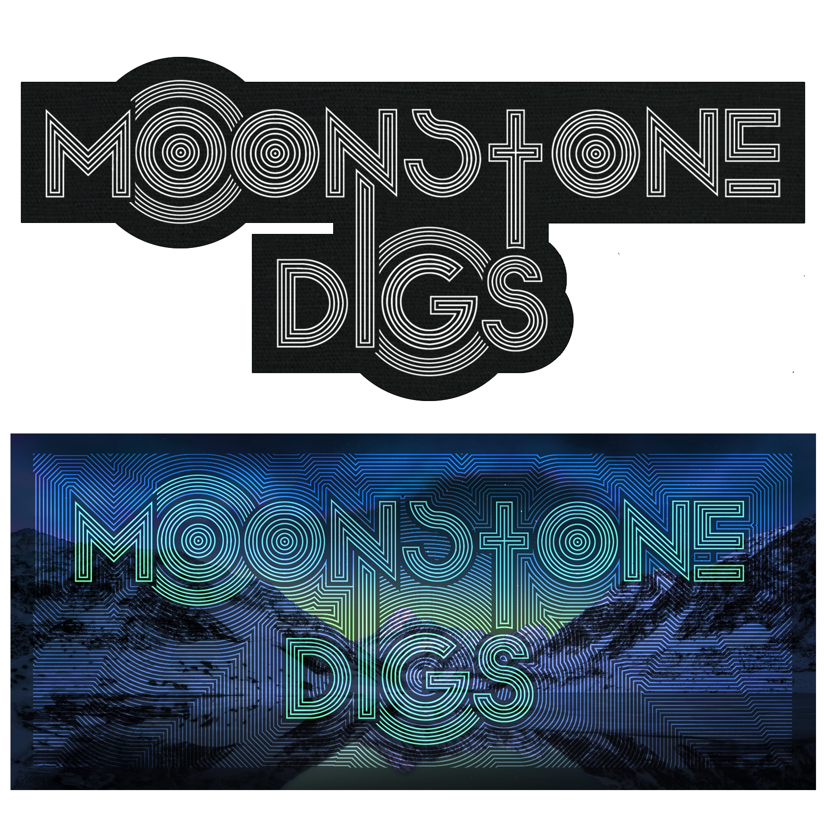 Multiple different versions of the hypnotic logo for the music act Moonstone Digs out of Vancouver, British Columbia, Canada