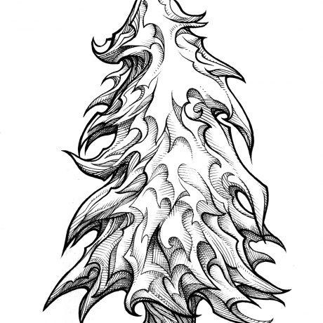 An ink drawing of a black and white crisp, clean christmas-style tree from my sketchbook project