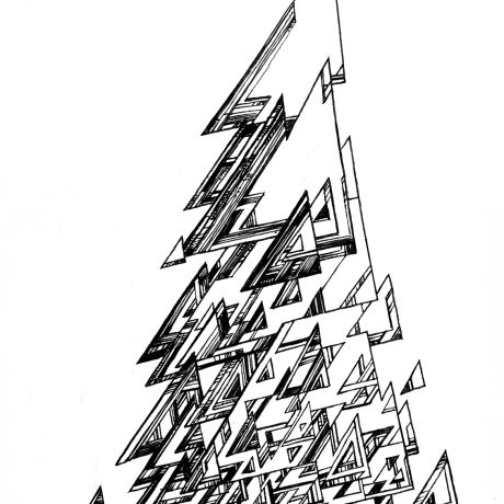 An ink drawing of a black and white stylised, geometric tree from my sketchbook project