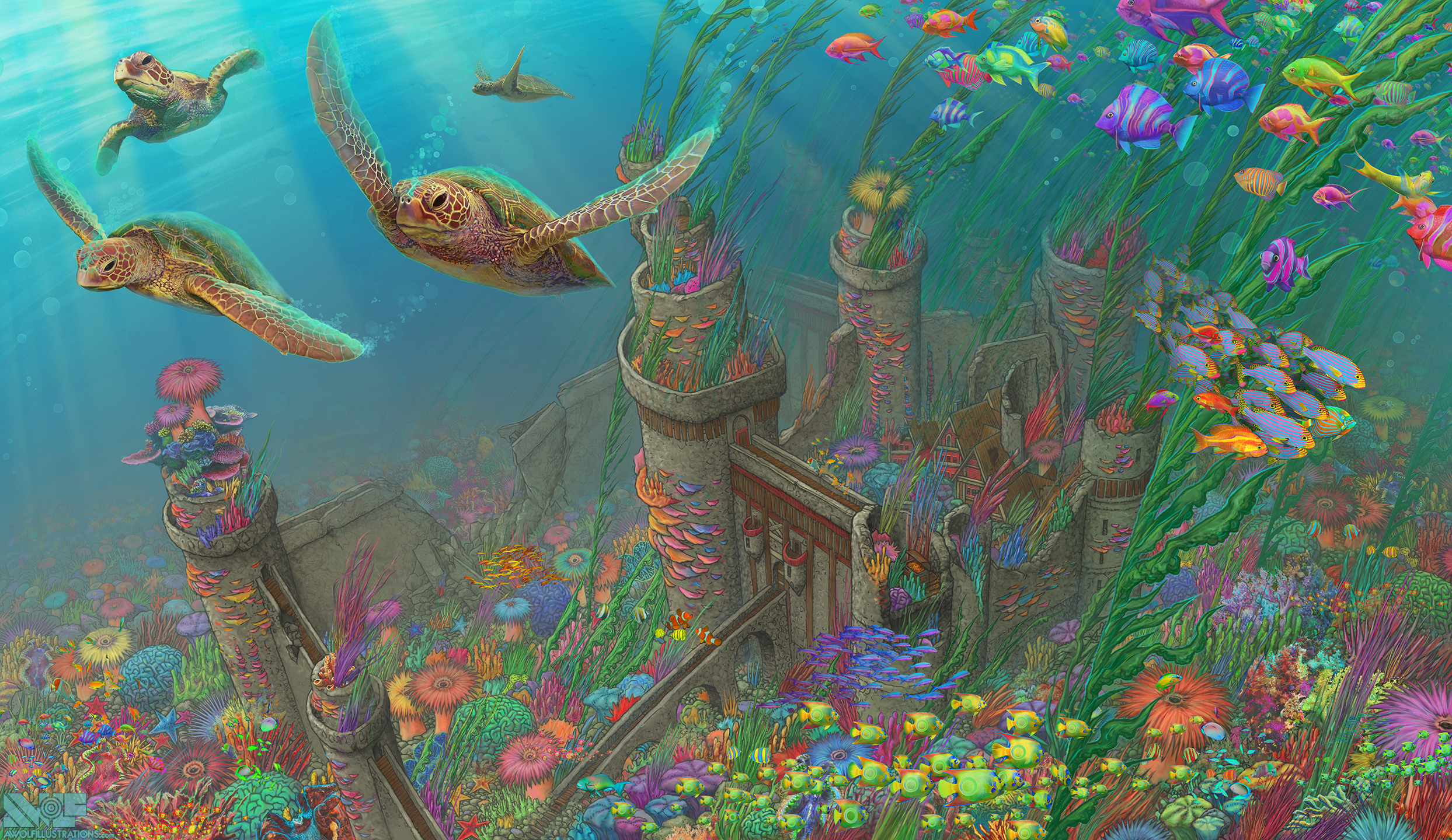 A digital illustration of the ruins of a castle that is now underwater and teaming with ocean life
