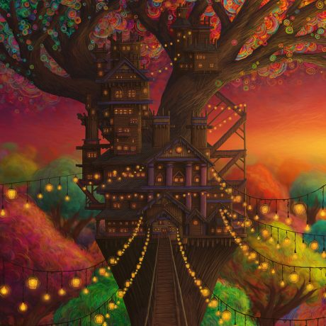 A digital illustration of a treehouse in a phosphorescent forest during the dusk sunset