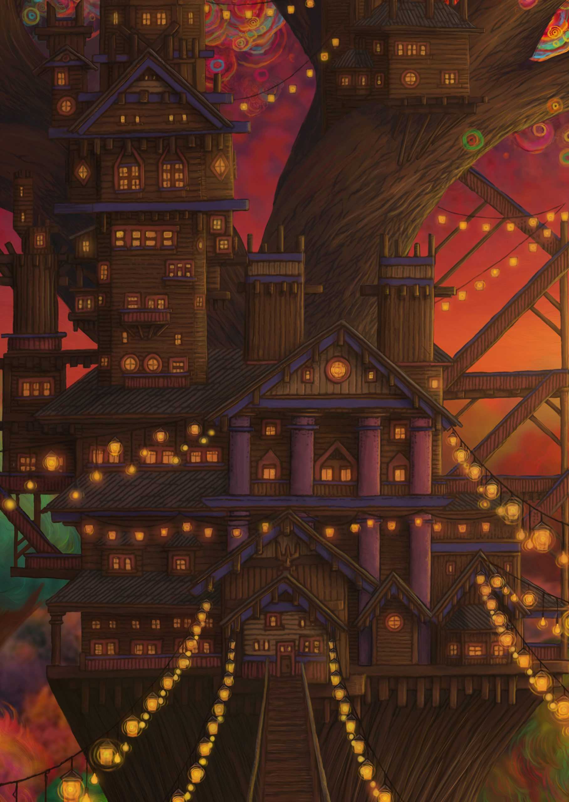 Detailed portion of Twilight Treehouse of the Phosphorescent Forest a surreal piece of digital art by Aaron Wolf