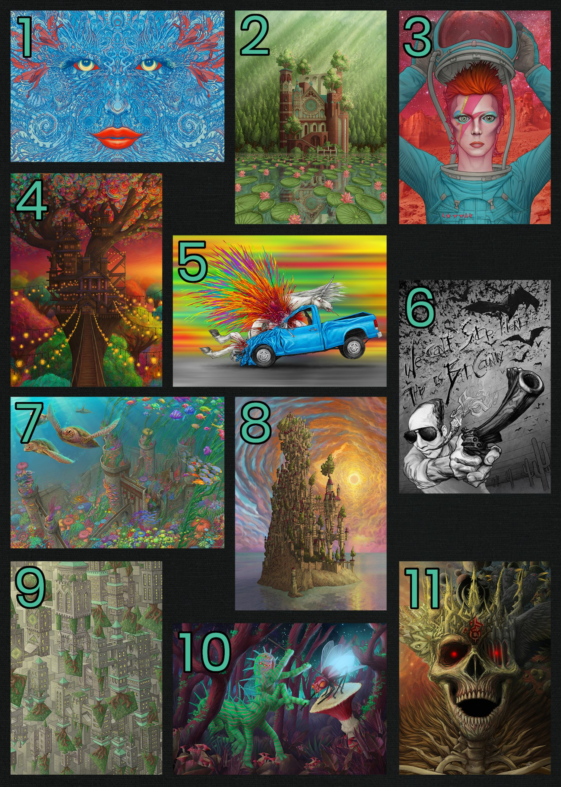a grid of the 11 different jigsaw puzzles available from Pandemic Puzzles by Aaron Wolf on Etsy