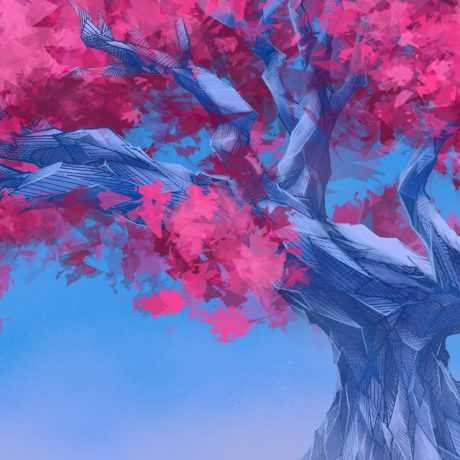 A digital, Procreate drawing artwork of a cherry blossom, ice tree in full bloom